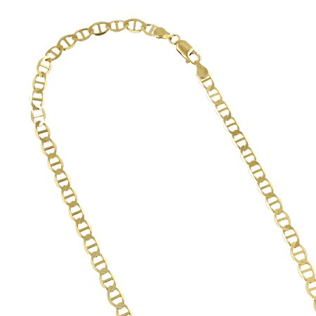 10K Yellow Gold Solid Flat Mariner Chain 4.5mm Wide Link Bracelet with Lobster Claw Clasp 8 inches long