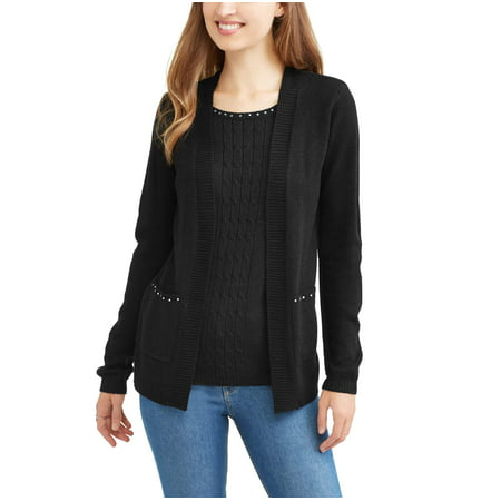 Sezzit Women's Twofer Stone Detailed Cardigan