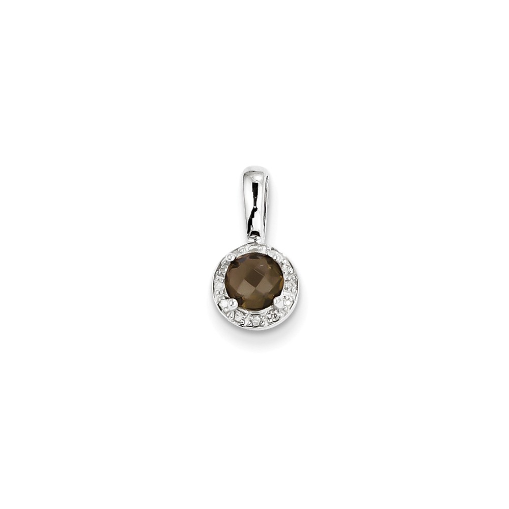 Sterling Silver Diamond Smokey Quartz Pendant. Carat Wt- 0.04ct. Gem Wt- 0.48ct