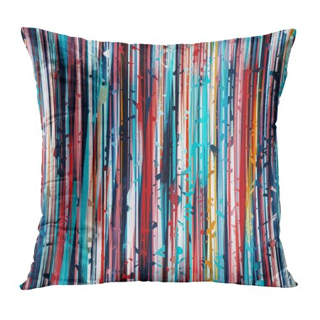 ECCOT Abstraction Brown Blue Orange Black Red Colors Lines Strokes Stripes Small Abstract Batik Chaotic Drawing Pillowcase Pillow Cover Cushion Case 18x18 inch