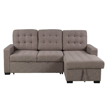 """96""""x61""""x46"""" Upholstered Velvet Fabric Modern Sofa Sets with Chaise with Storage Function 1 Sectional, SEGMART Modern Sectional Sofas with Chaise Lounge, Solid Frame, 900lbs, Grey, S1768"""