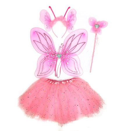 Mozlly Mozlly Pink Heart Glittery Butterfly Fairy Tutu Costume - Includes Wings, Tutu, Wand and Headband - Pretend Play Dress Up Outfit For Girls Adorable Fantasy Party Costume Wing size: 17 x 13 (4pc - Fantasy Costume Ideas List