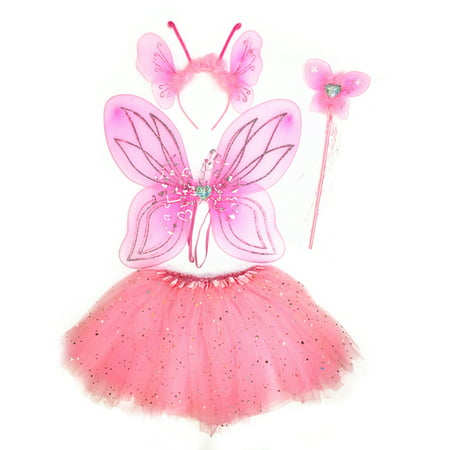 Mozlly Mozlly Pink Heart Glittery Butterfly Fairy Tutu Costume - Includes Wings, Tutu, Wand and Headband - Pretend Play Dress Up Outfit For Girls Adorable Fantasy Party Costume Wing size: - Naughty Dress Up Outfits