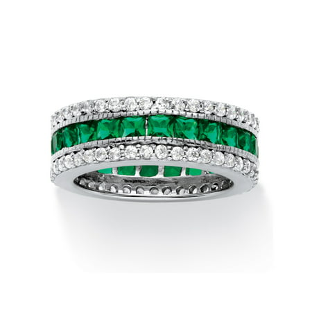 10.83 TCW Princess-Cut Simulated Emerald Eternity Ring in Platinum over .925 Sterling