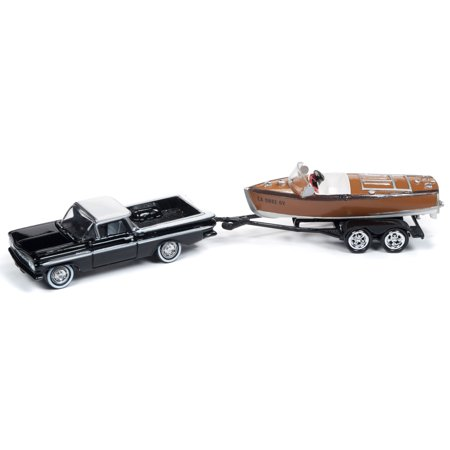 1959 Chevrolet El Camino Black & White Top w/Vintage Barrelback Boat Ltd Ed 3,000 pcs 1/64 Diecast Car Johnny (Chevrolet El Camino)