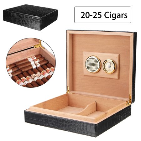 Grtsunsea Luxury Leather Cedar Wood Lined Cigar Humidor Humidifier with Hygrometer Case Box