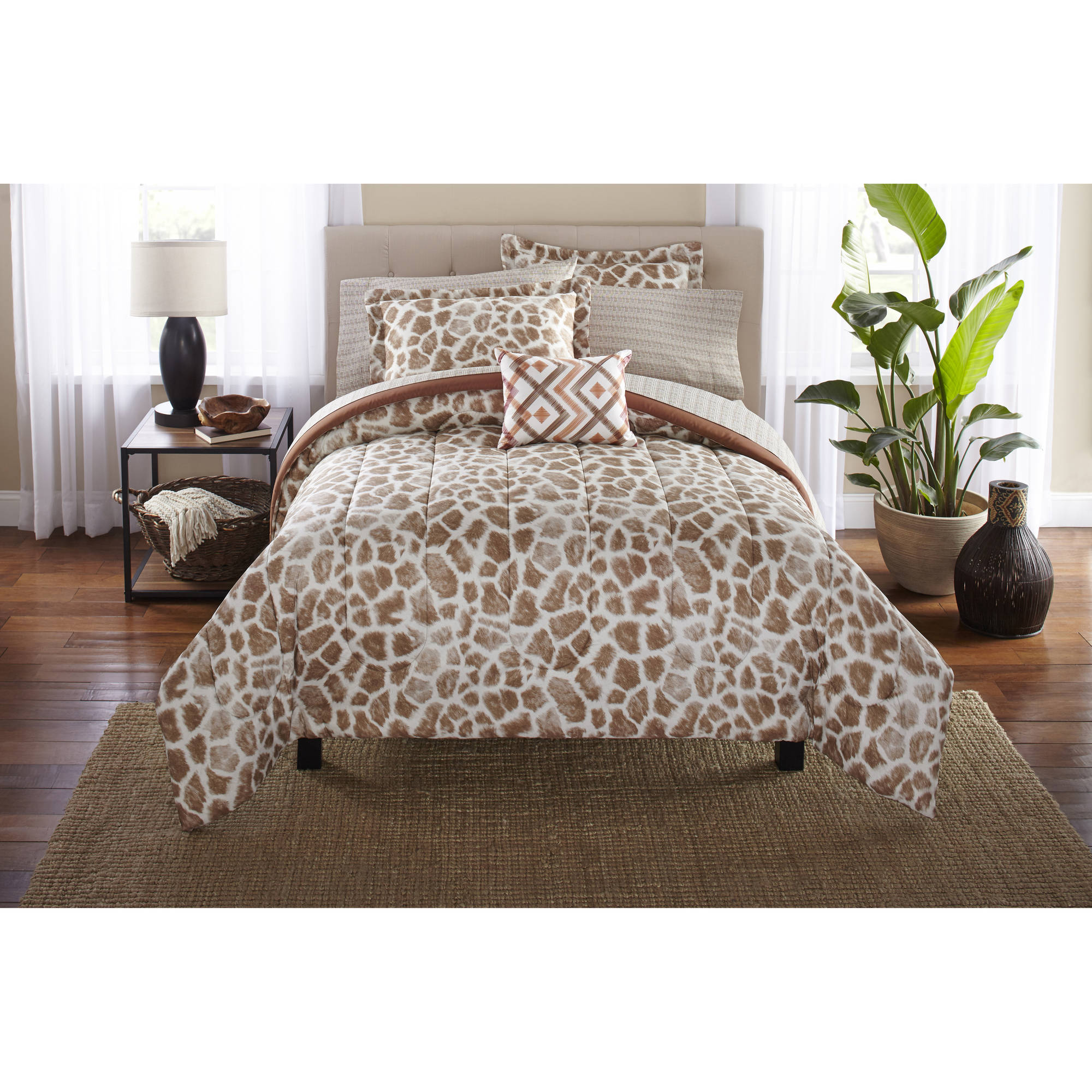 Super Mainstays Bed in a Bag Bedding Comforter Set, Giraffe - Walmart.com ZC01