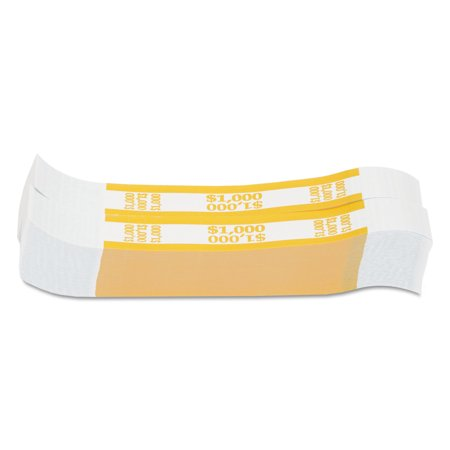2000 Currency Strap (Coin-Tainer Currency Straps, Yellow, $1,000 in $10 Bills, 1000 Bands/Pack)