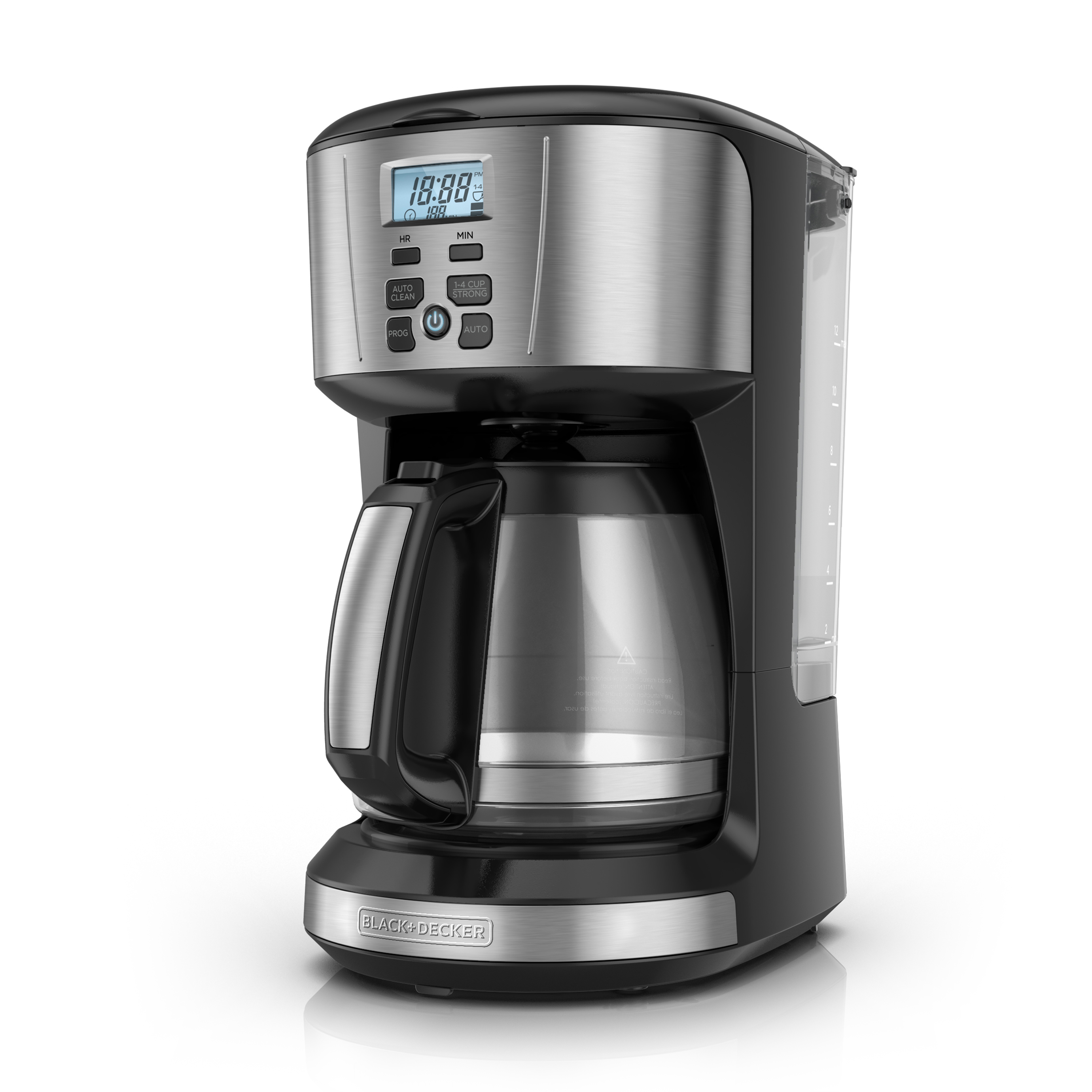 BLACK+DECKER 12-Cup Programmable Coffee Maker with Removable Water Reservoir, Black/Stainless Steel, CM4110S
