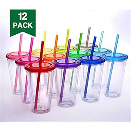 Cupture Classic Candy Insulated Tumbler with Lid and Straw, 16 oz, Pack of 12 (Assorted Colors)