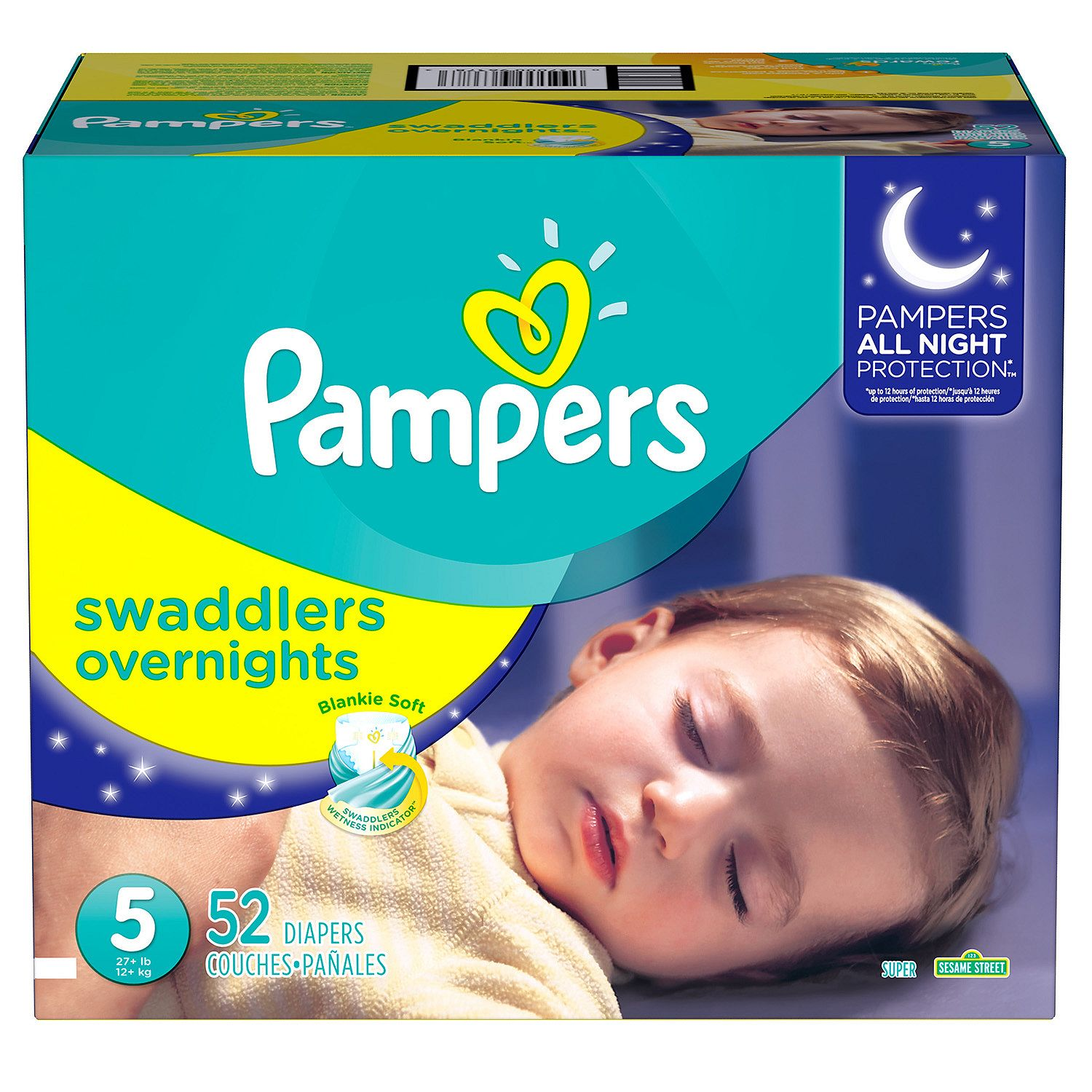 Pampers Swaddlers Overnights Diapers - Diaper Size 5 - 52 Ct. ( Weight 27+) - (Comfortable & Soft Diaper at a Wholeprice)