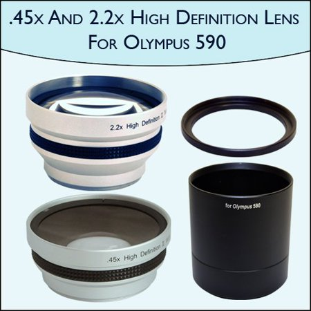 45x Wide Angle 22x Telephoto Pro Lens Set For Olympus Sp 590uz