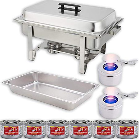 Chafing Dish Buffet Set w/Fuel — Water Pan + Food Pan (8 qt) + Frame + 2 Fuel Holders + 6 Fuel Cans – Warmer Kit