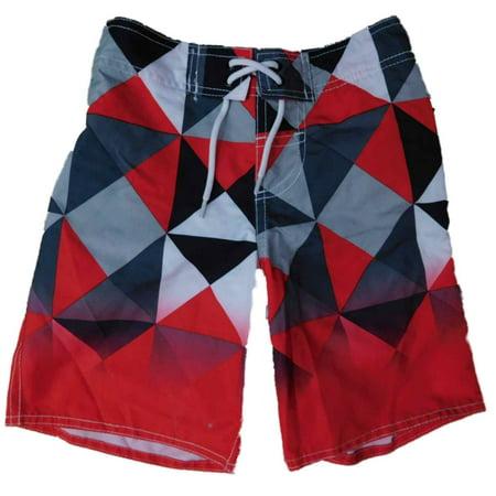 Boys Red Geometric Swim Trunks Board