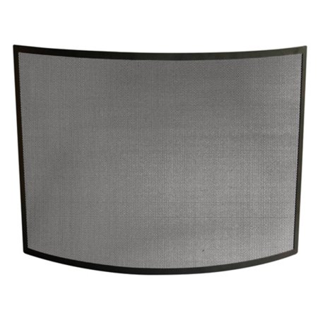 Single Panel Curved Black Wrought Iron - Gold Wrought Iron Fireplace Screen