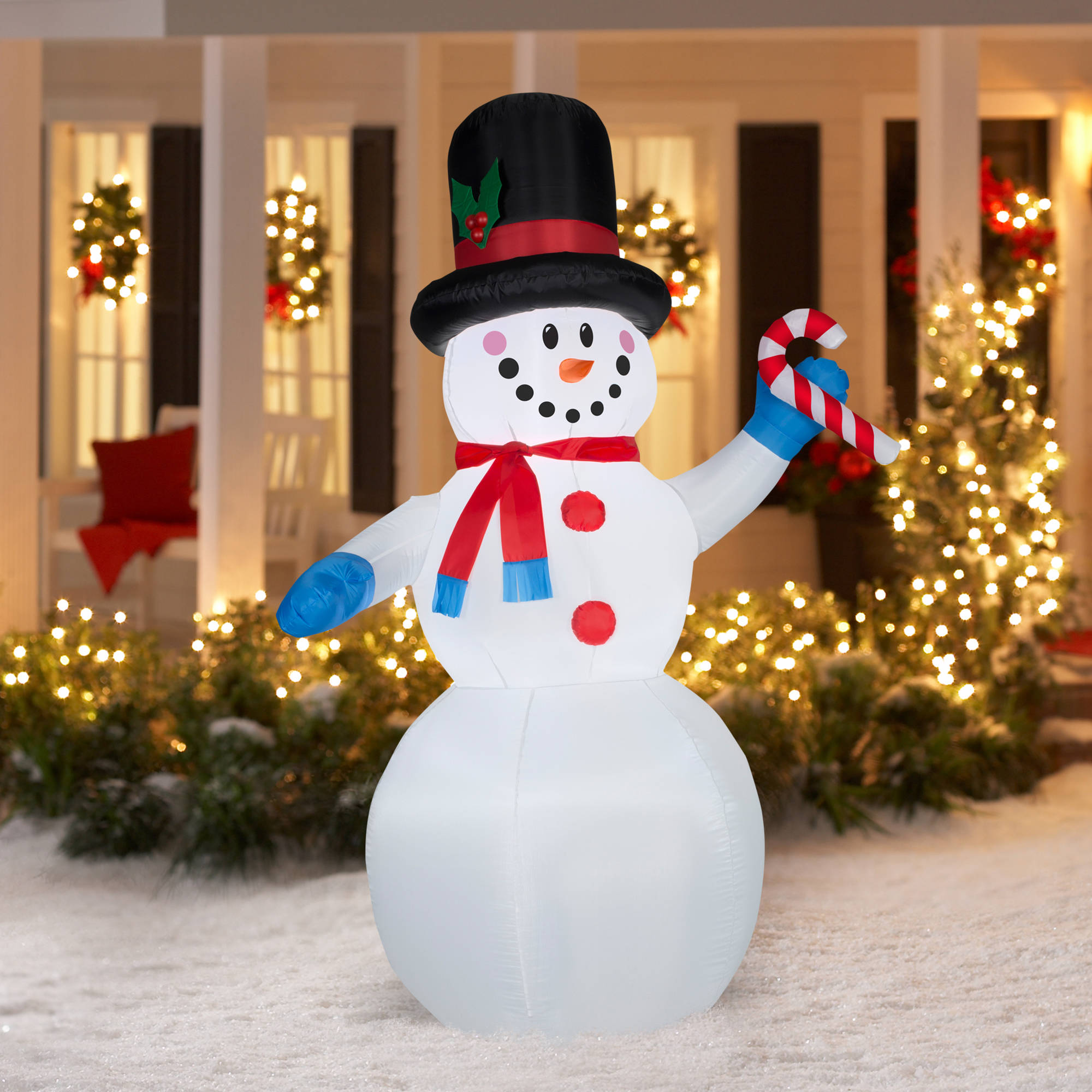 gemmy airblown christmas inflatables 7 festive snowman walmartcom - Walmart Outdoor Christmas Decorations