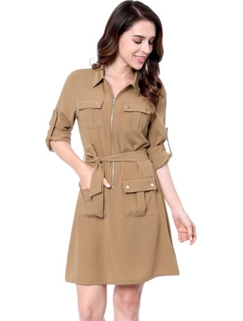 Unique Bargains Women 39 S Roll Up Sleeves Multi Pocket Above