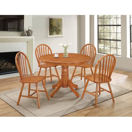 pc country style solid wood round dining table set side chair in oak