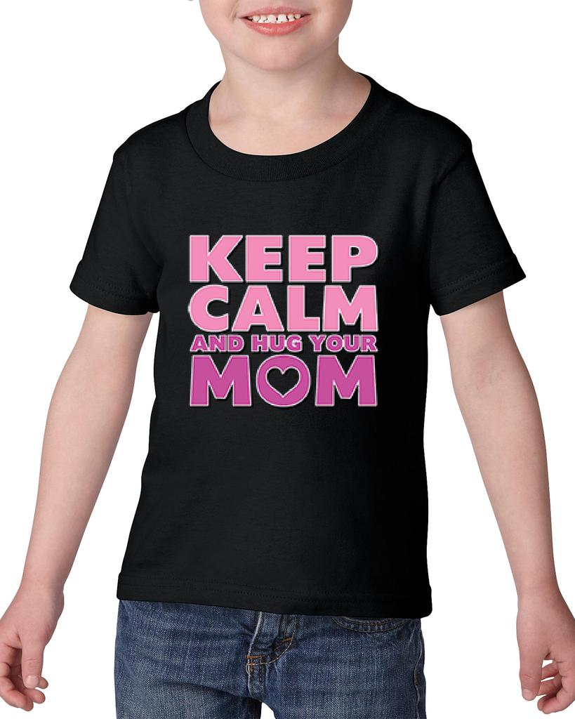 Artix Keep Calm & Hug Your Mom Gift for Mothers Day Birthday Christmas Party Heavy Cotton Toddler Kids T-Shirt Tee Clothing