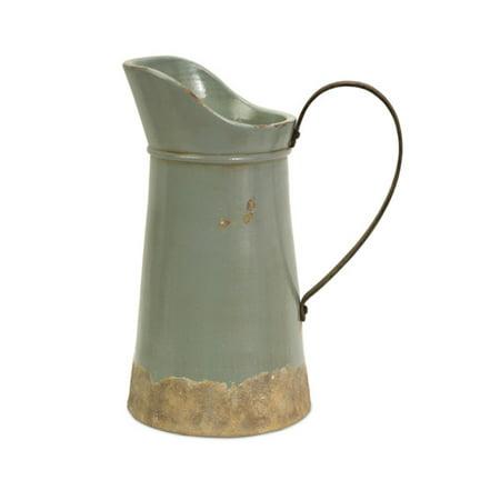 15 Decorative Distressed Rustic Ceramic Pitcher Vase With Metal
