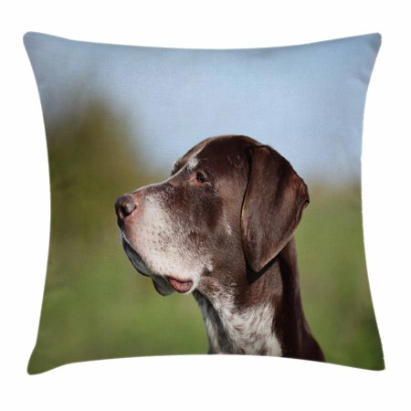 Hunting Decor Throw Pillow Cushion Cover, German Short Haired Pointer in Wilderness Portrait Photo Kurzhaar Pet Dog, Decorative Square Accent Pillow Case, 24 X 24 Inches, Multicolor, by Ambesonne