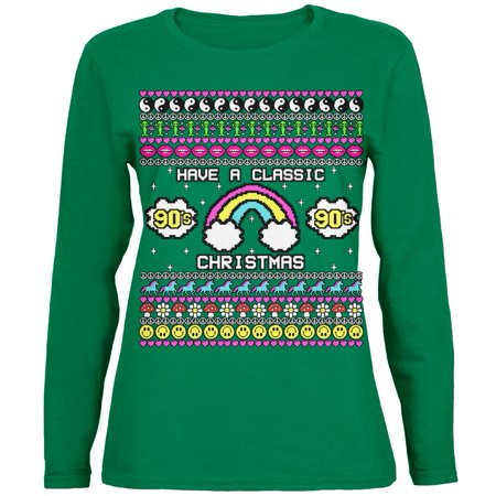 Retro 90s Nostalgia Classic Ugly Christmas Sweater Womens Long Sleeve T Shirt - Classic Christmas Sweaters