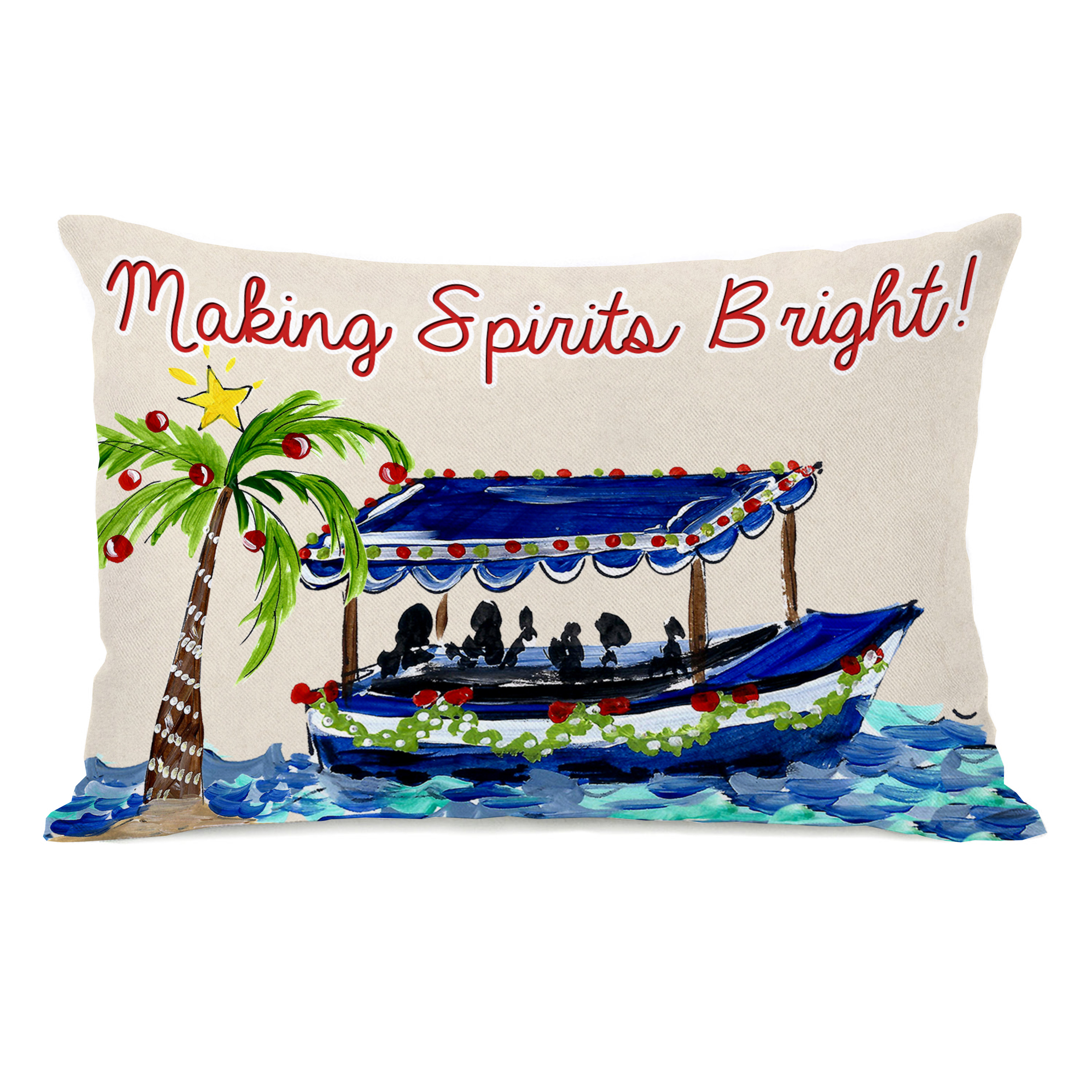 Making Spirits Bright - Tan Multi 14x20 Pillow by Timree