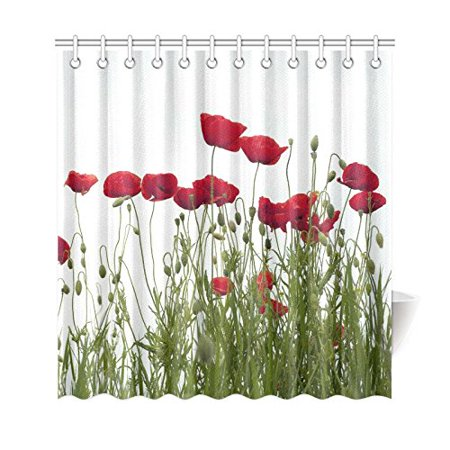 GCKG Red Poppies Shower Curtain 66x72 Inches Polyester Fabric Bathroom Sets Home Decor - image 3 de 3