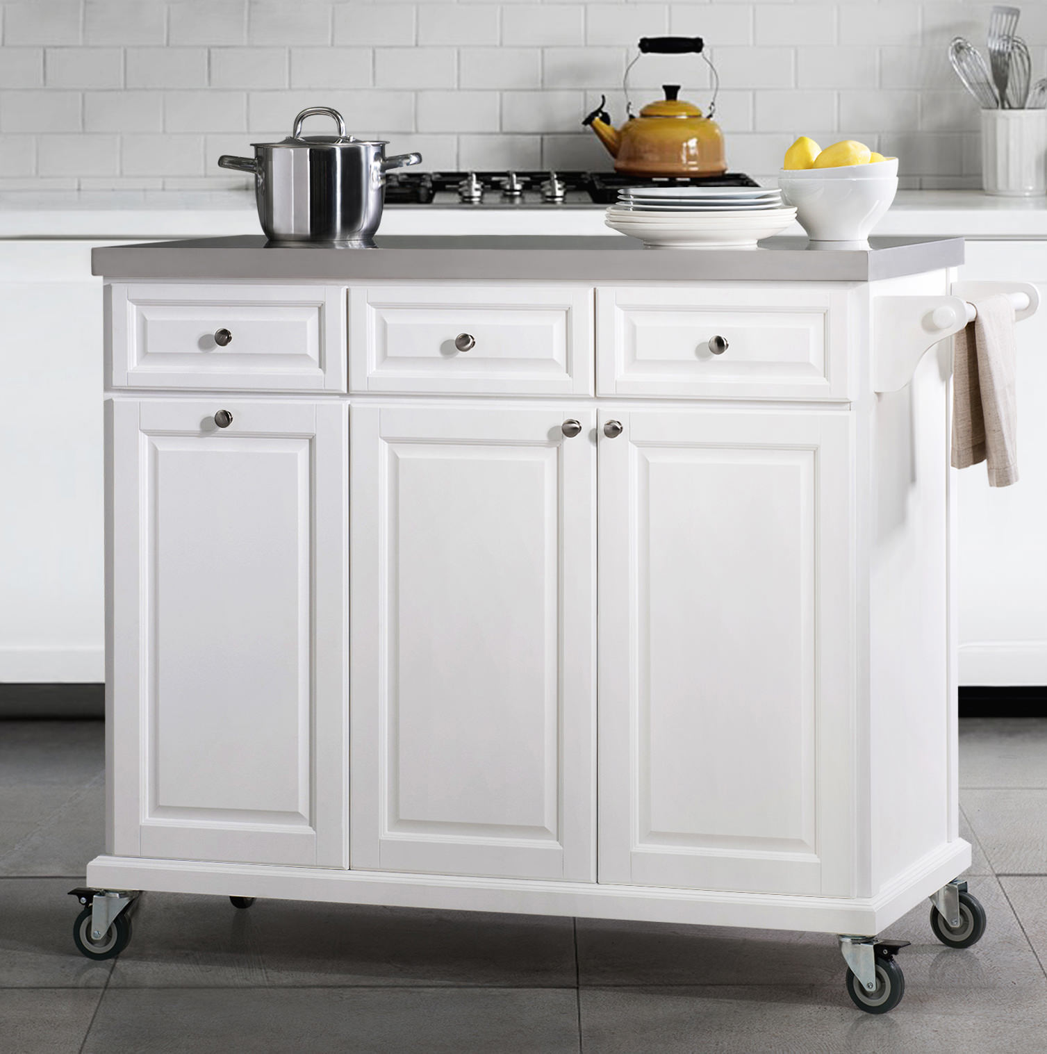 SJ Collection Buckhead Kitchen Cart-White