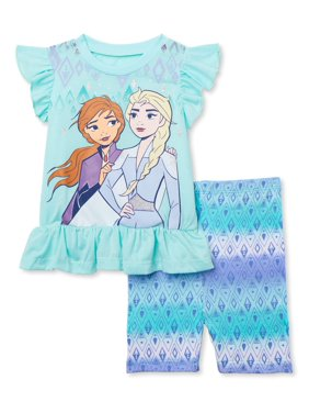 Frozen 2 Toddler Girls Flutter Sleeve Ruffle Peplum Top & Bike Shorts Outfit Set, 2-Piece Outfit Set