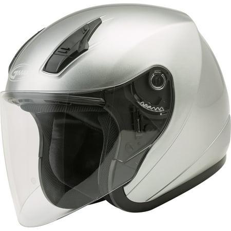 GMAX OF-17 Open Face Motorcycle/Scooter Helmet Dark Silver Metallic