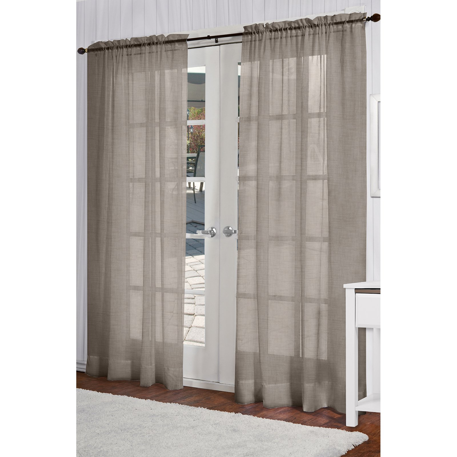 Exclusive Home Belgian Textured Linen Look Jacquard Sheer Window Curtain Panel Pair with Rod Pocket