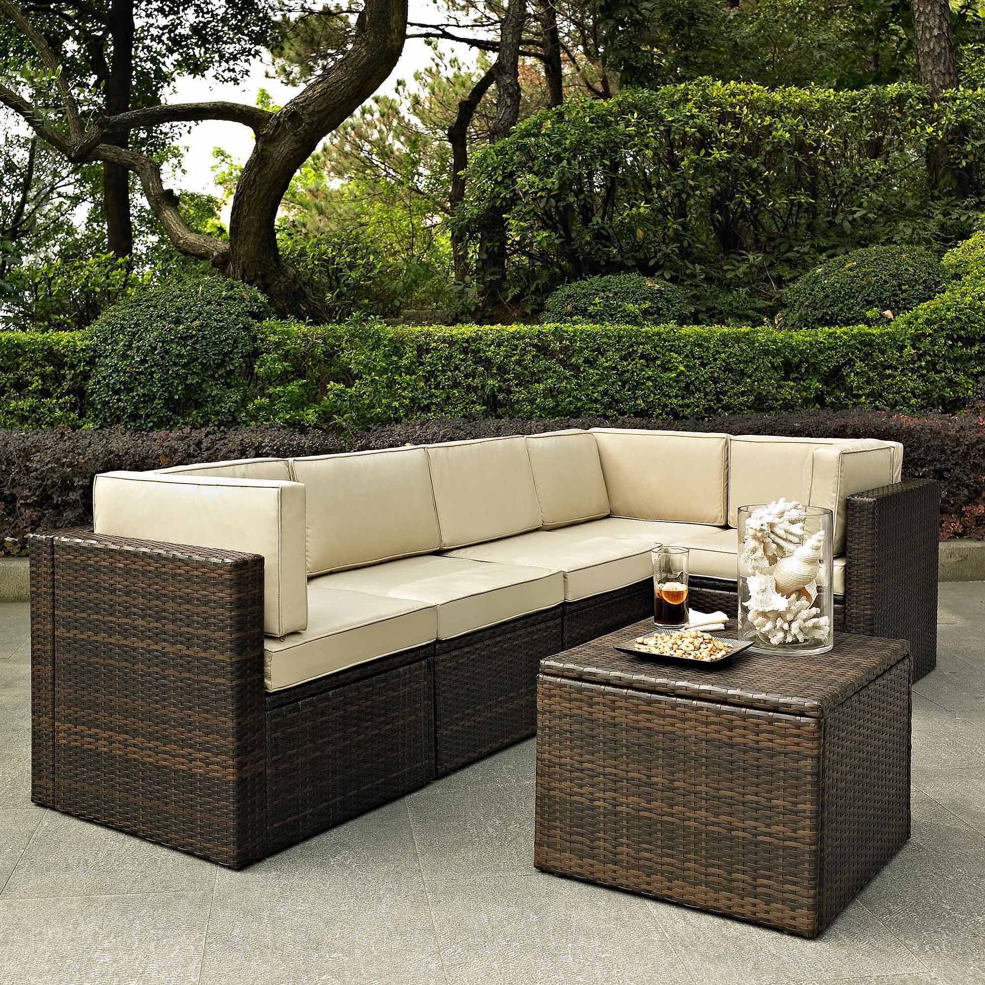 crosley furniture palm harbor 6piece outdoor wicker seating set walmartcom