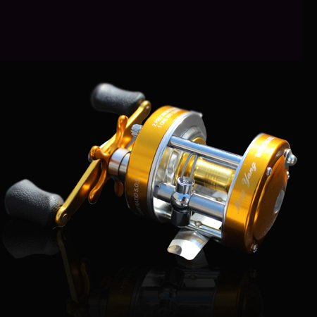 Baitcaster Reel with Oversized Handle Golden Right Hand - image 1 de 8
