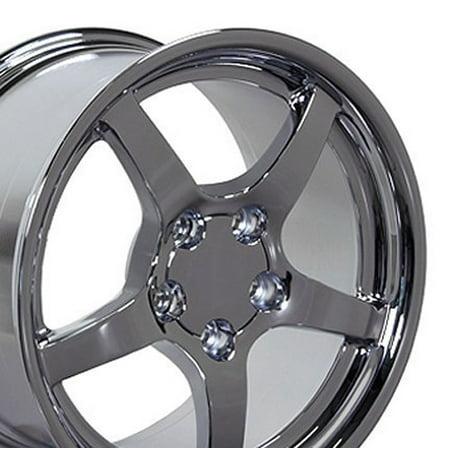 18x9.5 WheelS Fit Corvette, Camaro - C5 Style Deep Dish Chrome Rims - SET Corvette C5 Style Wheel