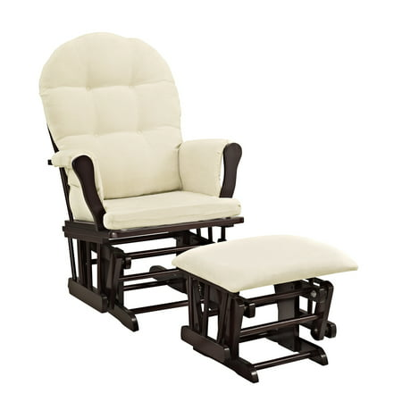 Angel Line Windsor Glider and Ottoman Espresso Finish and Beige (Days End Glider Chair)