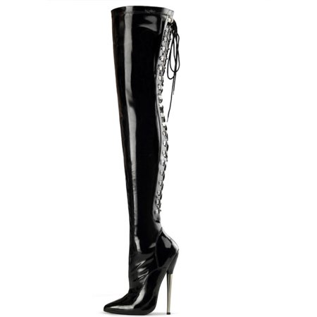 509f521675ca SummitFashions - Stretch Black Thigh High Boots with Lace Up Back and 6.25  Inch Brass Heels - Walmart.com