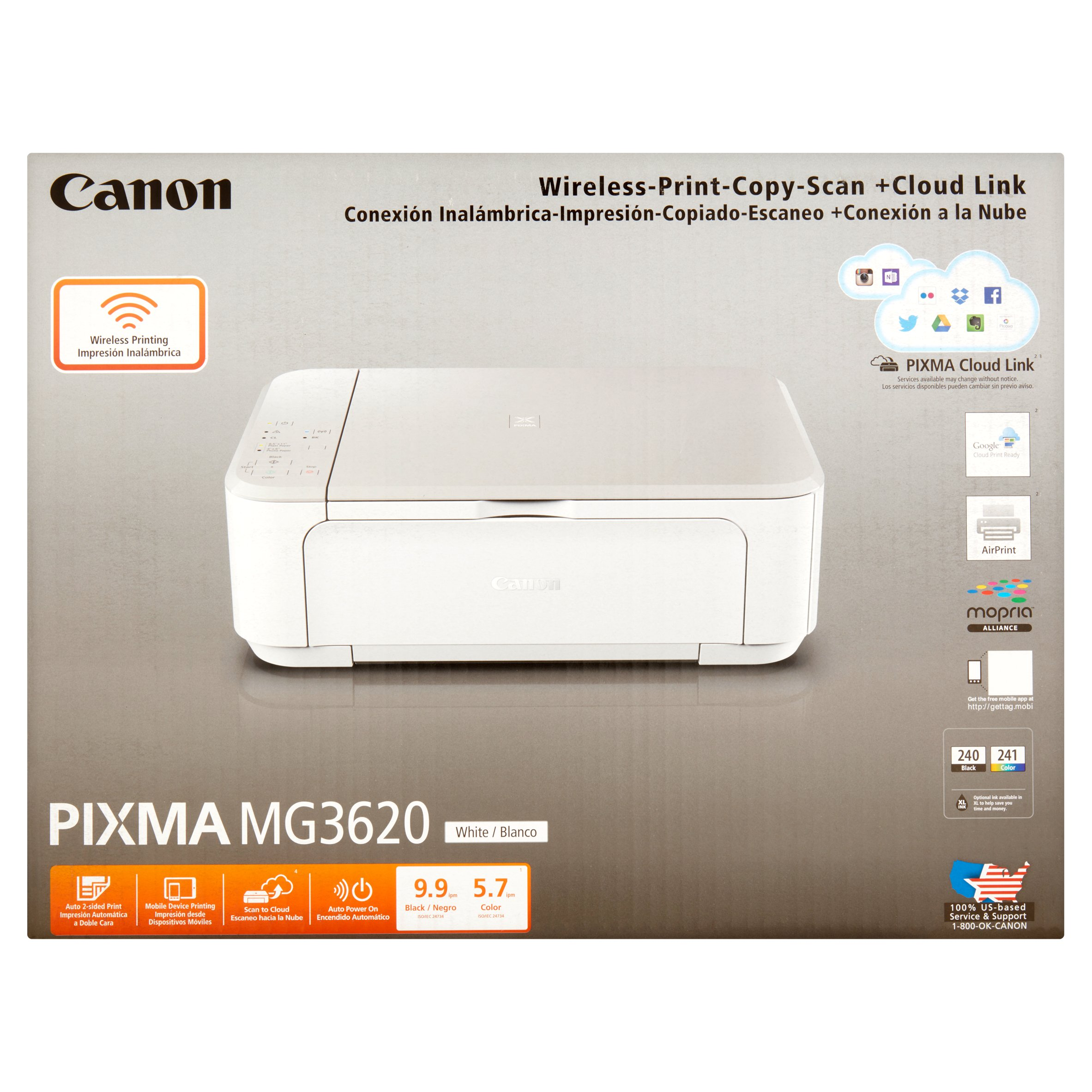 Canon White Wireless-Print-Copy-Scan + Cloud Link
