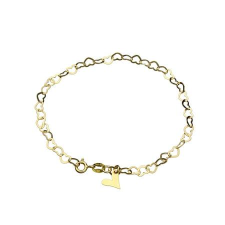18k Gold-Flashed Sterling Silver Flat Heart Link Charm Anklet Italy Adjustable, - Flat Link Anklet