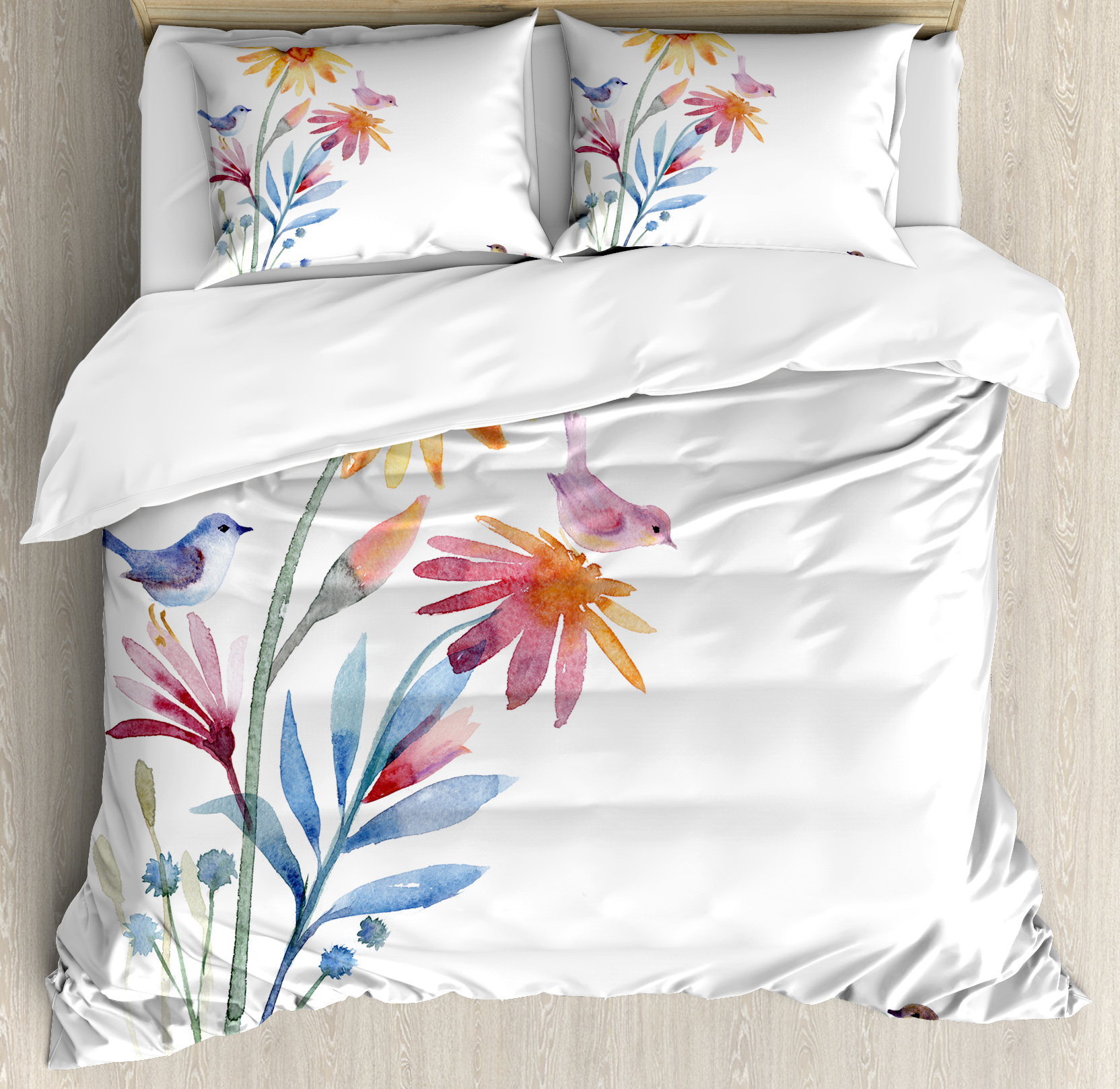Watercolor Duvet Cover Set, Springtime Flowers with Birds Unusual Color Scheme Brush Effect, Decorative Bedding Set with Pillow Shams, Slate Blue Amber Levander, by Ambesonne