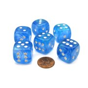Chessex Borealis 20mm Big D6 Dice, 6 Pieces - Sky Blue with White Pips #DB2006
