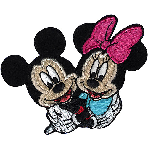 Wrights Disney Iron-On Applique, 3-1/2 by 2-3/4-Inch, Mickey and Minnie Multi-Colored
