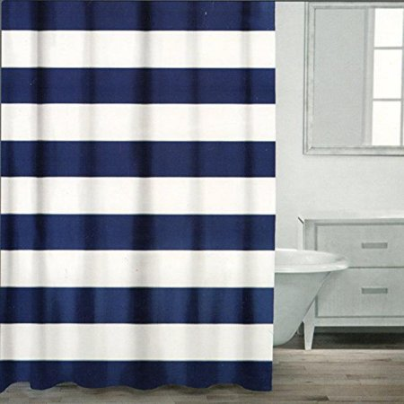 Caro Home 100 Cotton Shower Curtain Wide Stripes Fabric