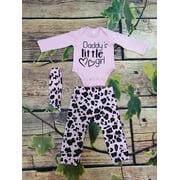 Baby Girls Sweet Style Long Sleeve Letter Bodysuit + Leopard Print Long Pants + Headwear 3Pcs Set