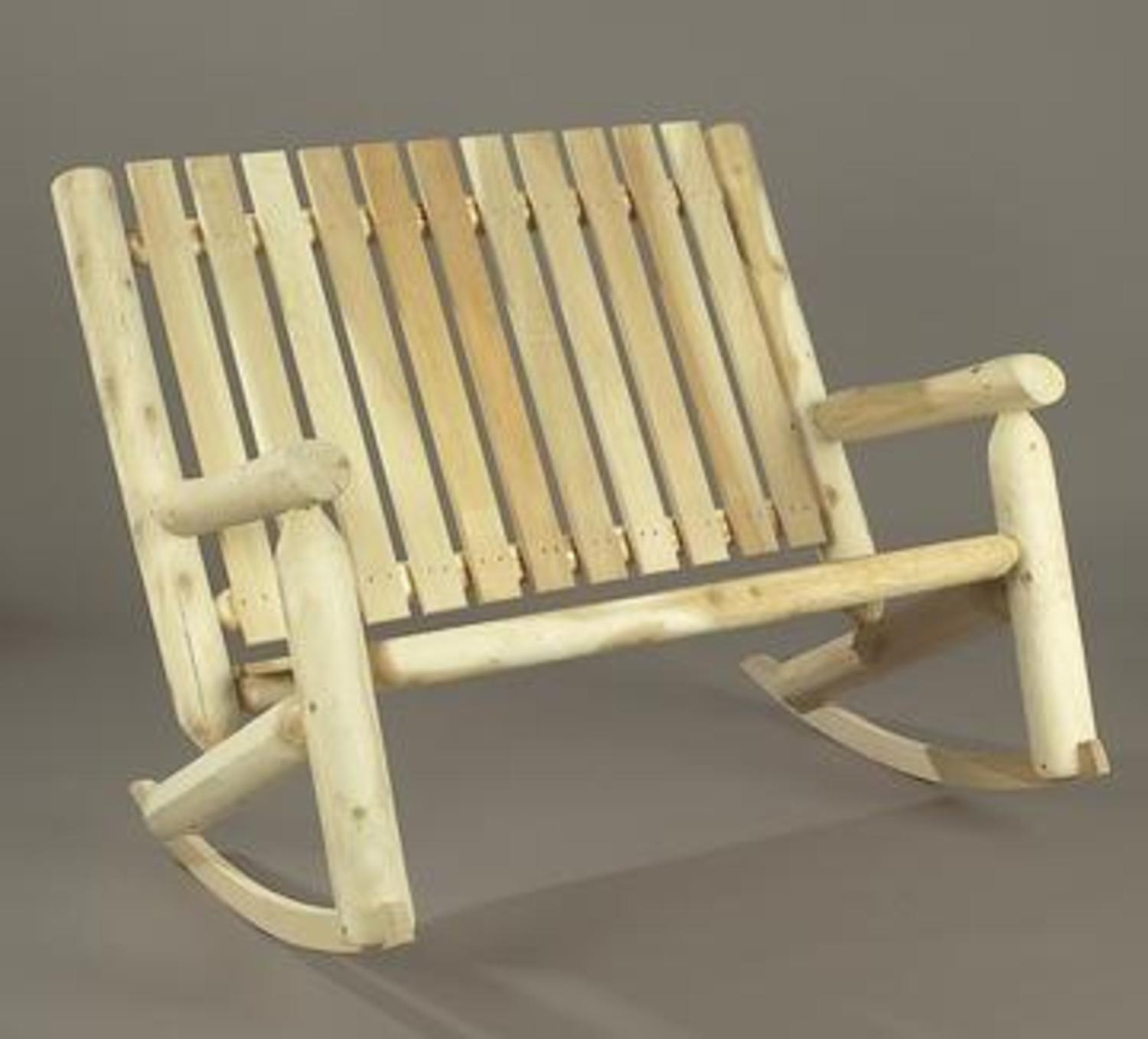 "46"" Natural Cedar Log Style Outdoor Wooden Double High Back Rocking Chair"