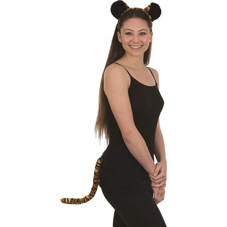 Velvet Tiger Ears Headband and Tail Costume Accessory Set](Tiger Ears And Tail Set)
