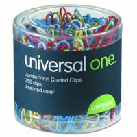 Universal One Vinyl-Coated Wire Paper Clips, Jumbo, Assorted Colors, 250 Ct