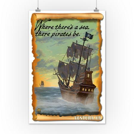 Ventura, California - Pirate Ship - Lantern Press Artwork (12x18 Art ...