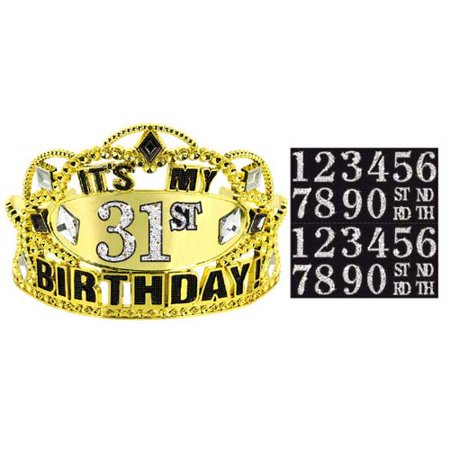 Happy Birthday 'Sparkling Celebration' Customizable Tiara (1ct)](18th Birthday Tiara)