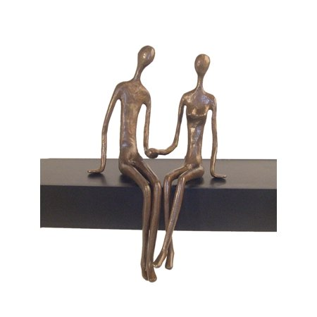 Danya B. Sitting Couple Cast Bronze Base Cast Bronze Sculpture